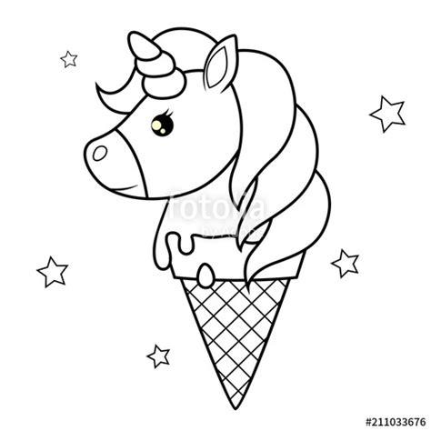 Helado Kleurplaat by Quot Unicorn Black And White Vector