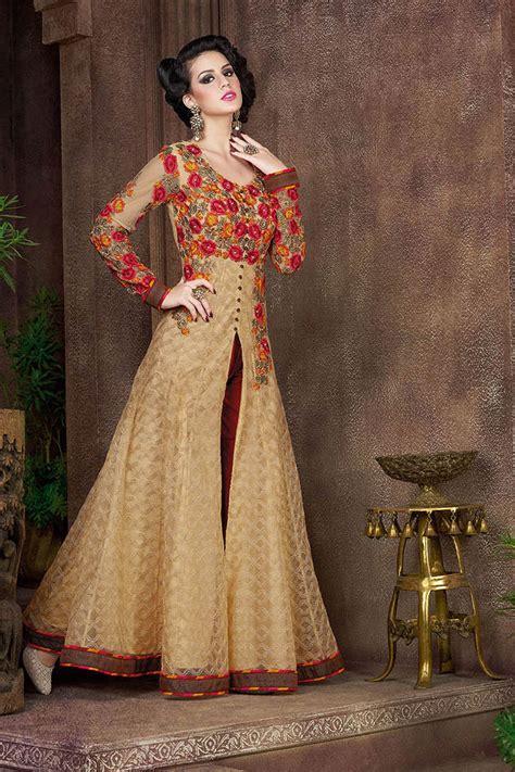 buy beige color net party wear anarkali salwar kameez