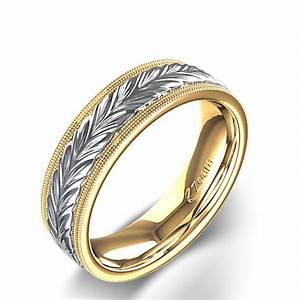 Double Milgrain Edged Braided Mens Wedding Ring In Two