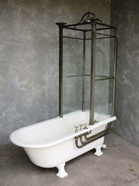 antique bathroom cast iron canopy  glass shower bath