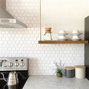 36 eye catchy hexagon tile ideas for kitchens digsdigs for White hexagon tile backsplash