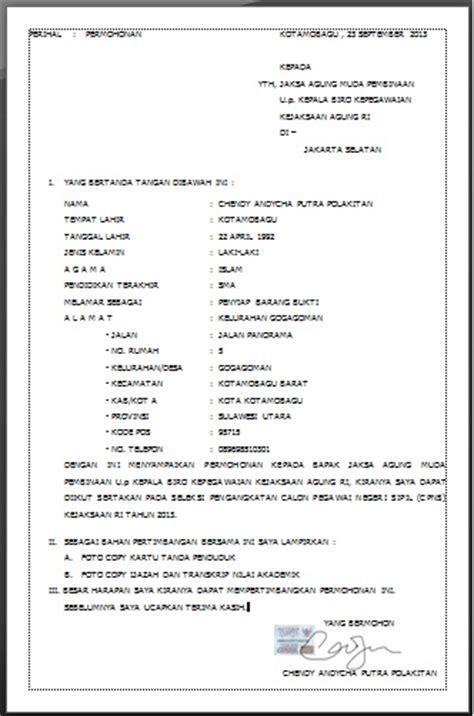 Contoh Surat Lamaran Pekerjaan Cpns Kejaksaan by Contoh Surat Permohonan Cpns Kejaksaan 2013 Cendol92