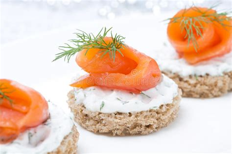 rye bread canapes festive appetizer canape with rye bread cheese salmon stock image image 34870673