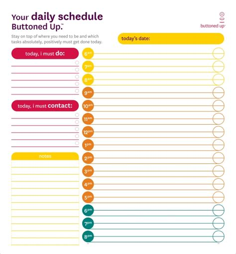 printable daily schedule templates  excel word