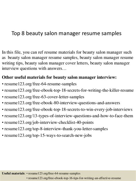 Salon Resume by Top 8 Salon Manager Resume Sles