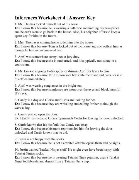 inferences worksheet 4 inferences worksheet 4 answers