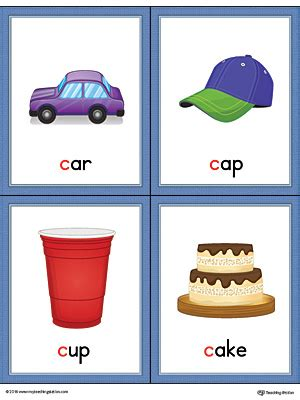 color starting with c letter c words and pictures printable cards car cap cup