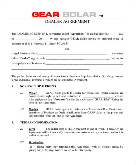 agreement format sample  examples  word