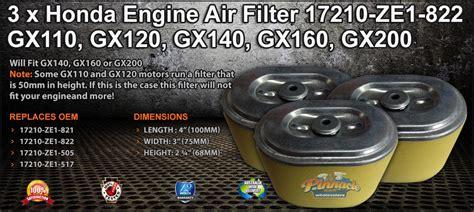 honda engine air filter  ze  gx gx gx