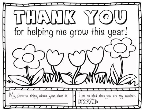 Thank You Teacher Coloring Pages Printable