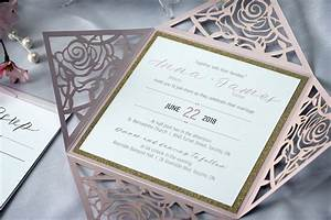 rose flower laser cut wedding invitations with gold With laser cut wedding invitations toronto