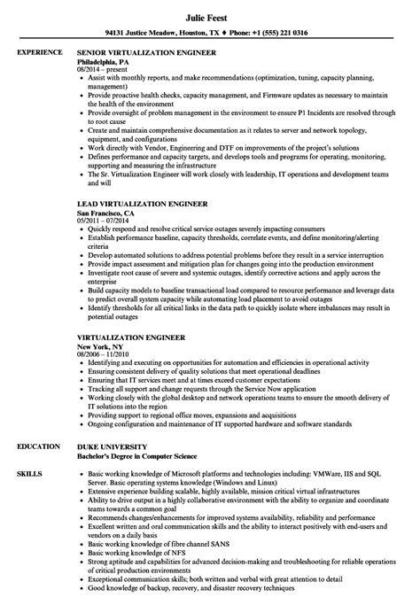 virtualization engineer resume sles velvet