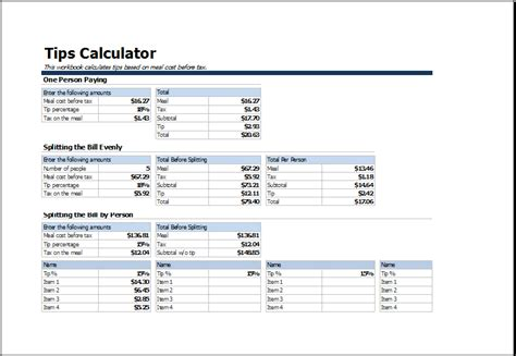 tip sheet template ms excel printable tips calculator tempate excel templates