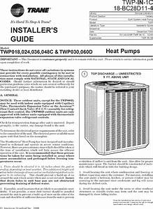 Trane Air Conditioner  Heat Pump Outside Unit  Manual L0802003