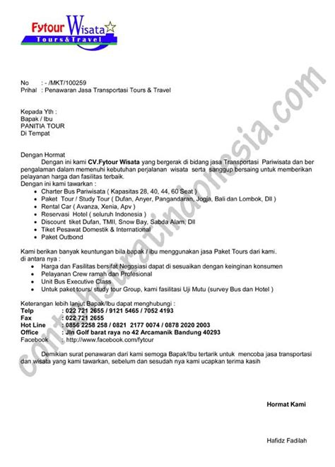 Contoh Surat Permintaan Jasa Pengiriman Barang by Contoh Surat Penawaran Jasa Transportasi Tours Dan Travel