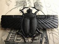 Egyptian Scarab Beetle with Wings