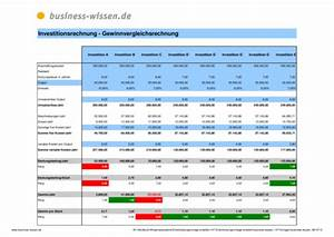 Deckungsbeitrag Berechnen Excel : gewinnvergleichsrechnung ii excel tabelle business ~ Themetempest.com Abrechnung