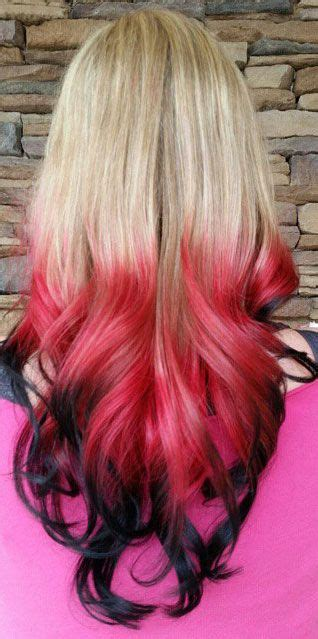 Blonde Red Black Ombre Dip Dyed Hair Color Blonde Hair