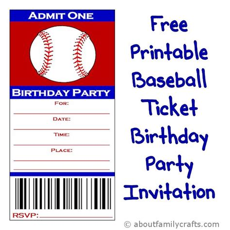 baseball invitation template baseball ticket birthday invitation about family crafts