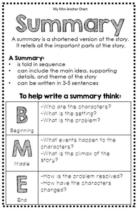 How To Write The Summary Part Of A Resume by 25 Best Ideas About Summary On Summary Anchor Chart Summarizing Anchor Chart And