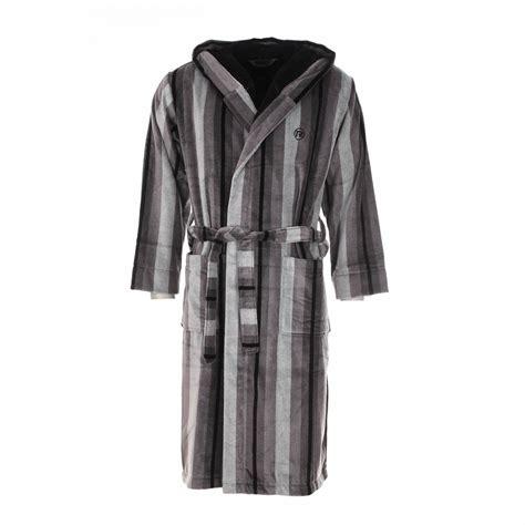 robe de chambre longue peignoir éponge mariner é gris à capuche extérieur en
