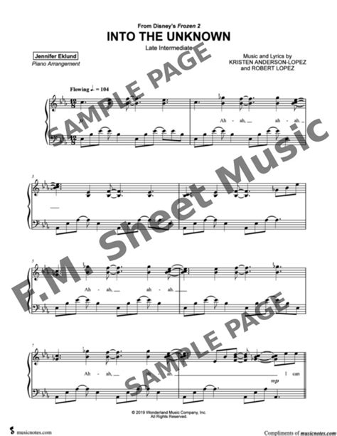 The list of free notes is constantly updated, mainly represented by the arrangements of the piano. Into the Unknown (Frozen 2 - Movie Version) (Late Intermediate Piano) By Idina Menzel - F.M ...