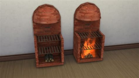 mod  sims medieval stove grill fireplace  animated