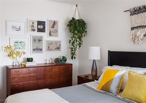 hanging plant bedroom midcentury with modern bedroom wooden wall picture frames