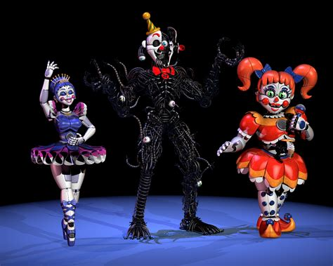 Old models of my stylized Ennard, Circus Baby and Ballora ...