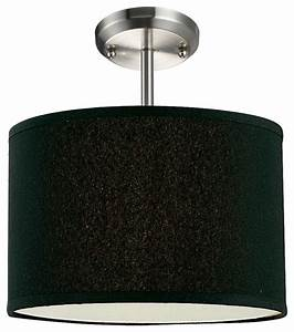 One light brushed nickel black shade drum semi flush