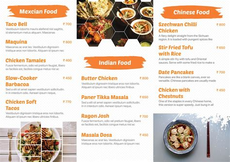 trifold restaurant menu card freedownloadpsdcom
