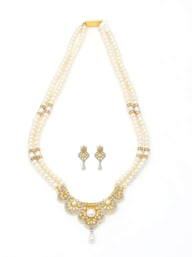pearls yellowish white czs necklace  earrings set