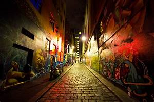 Wallpaper, City, Street, Night, Cobblestone, Shadow, Road, Evening, Graffiti, Evil, Australia