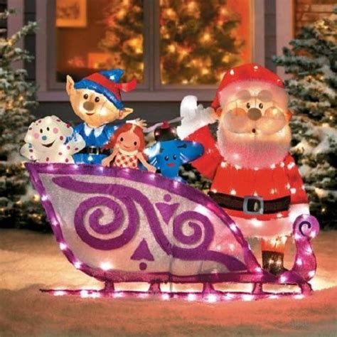 lighted  rudolph santa sleigh misfit toys outdoor