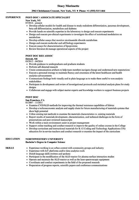 Postdoc Cover Letter Sle Biology by Post Doc Resume Sles Velvet