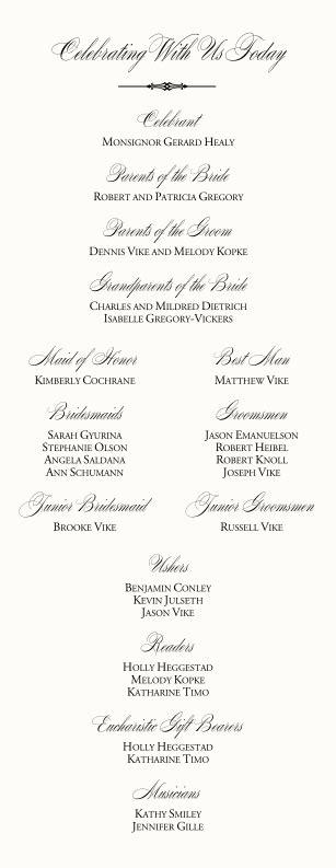 catholic wedding program wedding program examples wording