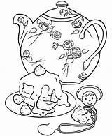 Teapot Coloring Cake Pages Relaxation Teacup Sets sketch template