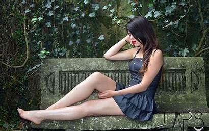 Barefoot Woman Hair Beauty Japanese Sitting Lady