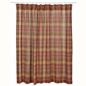Plaid Shower Curtains - new rustic country lodge cabin wine burgundy green