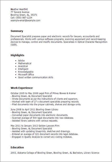 resume format for document specialist professional document specialist templates to showcase