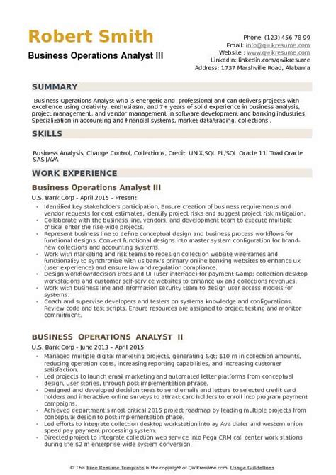 Business Operations Analyst Resume Exle by Business Operations Analyst Resume Sles Qwikresume