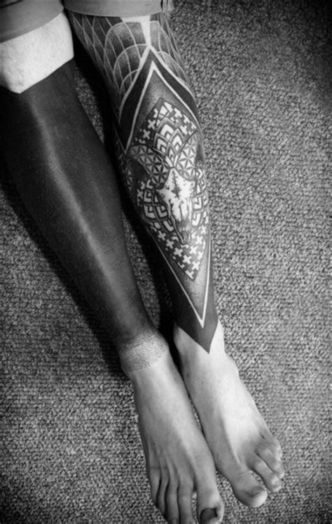 One Leg black Second Ram Skull Blackwork tattoo | Best