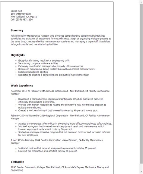 An Exle Of A Written Cv by Resume Templates Facility Maintenance Manager Resumes