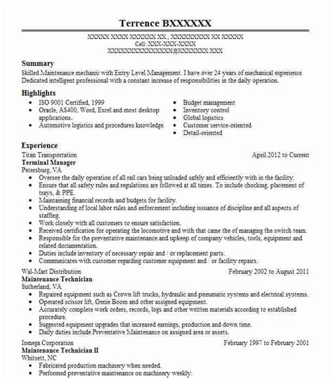 Maintenance Mechanic Resume Sles by Best Industrial Maintenance Mechanic Resume Exle