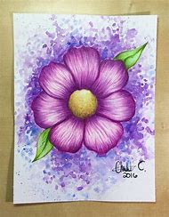 Watercolor Pencil Flower Drawing