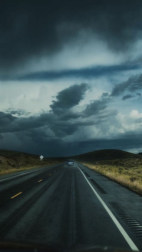 Road Clouds Auto Traffic Wallpaper [2160x3840]