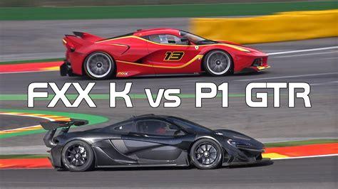 McLaren P1 GTR vs Ferrari FXX K - Sound Comparison! - YouTube