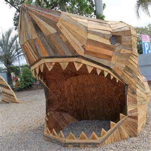 giant shark   recycled wood greets shoppers