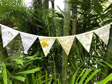 Gold and Silver Outdoor Wedding Bunting 12 Flags DIY ...