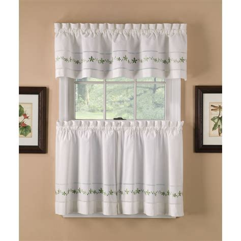Country Classics Sage Lace Embroidered Floral Tier Curtains
